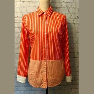 GAP Womans Top SMALL Orange & White Button Down